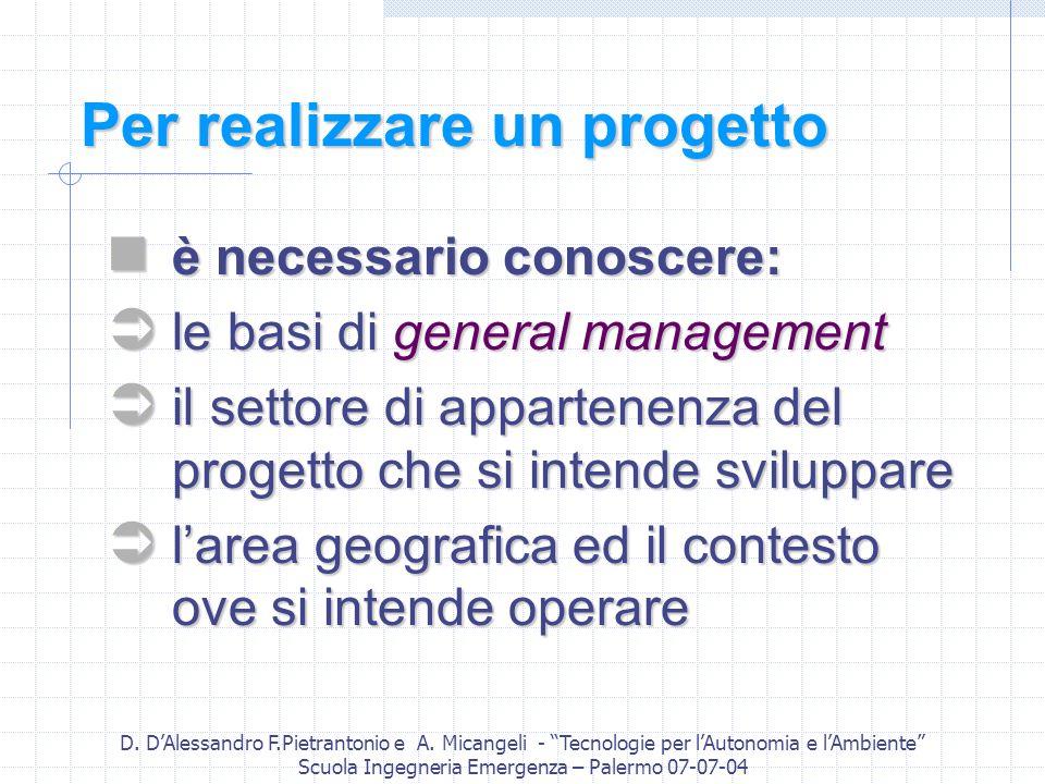 D. DAlessandro F.Pietrantonio e A. Micangeli - Tecnologie per lAutonomia e lAmbiente Scuola Ingegneria Emergenza – Palermo 07-07-04 Per realizzare un