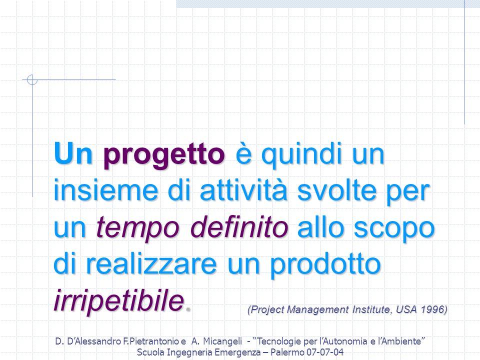 D. DAlessandro F.Pietrantonio e A. Micangeli - Tecnologie per lAutonomia e lAmbiente Scuola Ingegneria Emergenza – Palermo 07-07-04 Un progetto è quin