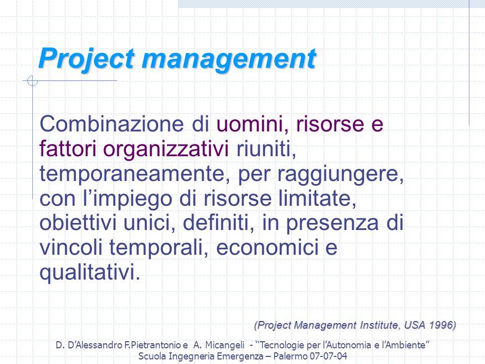 D. DAlessandro F.Pietrantonio e A. Micangeli - Tecnologie per lAutonomia e lAmbiente Scuola Ingegneria Emergenza – Palermo 07-07-04 Project management