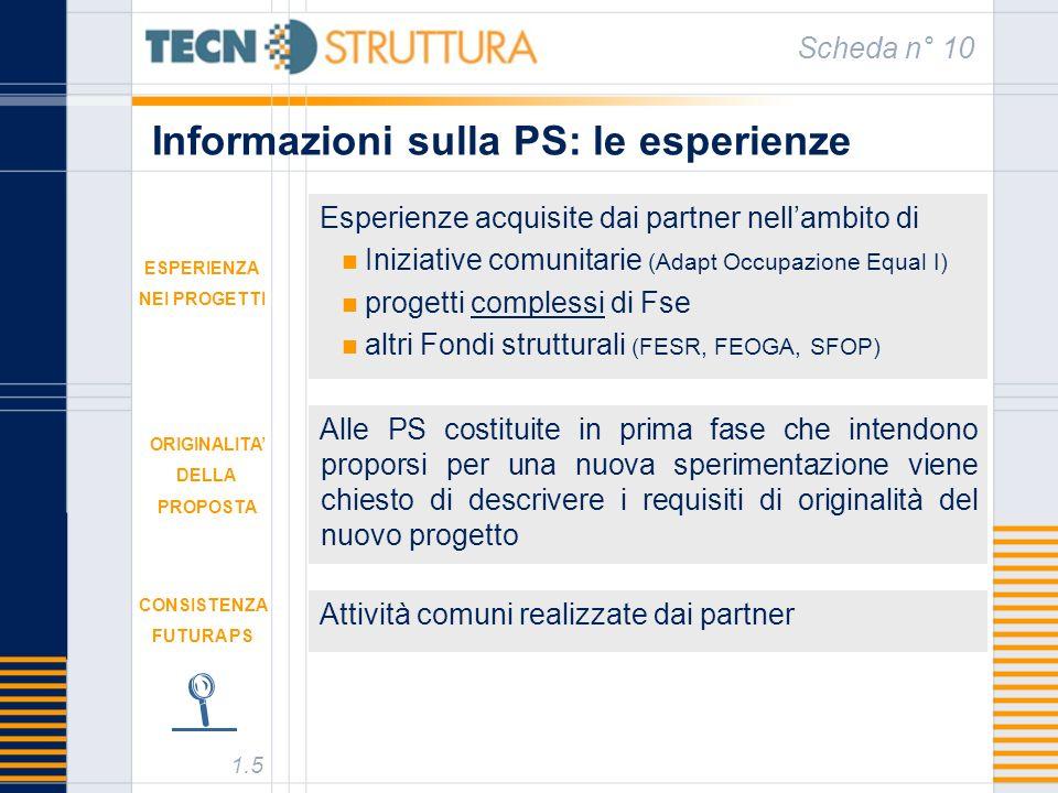 Informazioni sulla PS: le esperienze Scheda n° 10 Esperienze acquisite dai partner nellambito di Iniziative comunitarie (Adapt Occupazione Equal I) pr