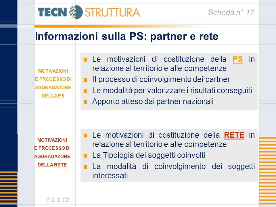Informazioni sulla PS: partner e rete Scheda n° 12 Le motivazioni di costituzione della PS in relazione al territorio e alle competenze Il processo di