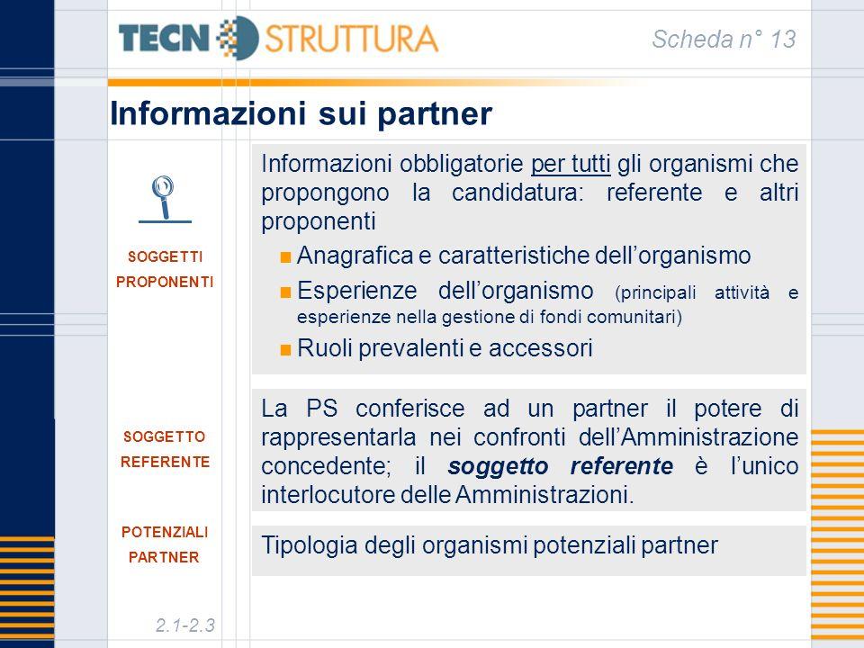 Informazioni sui partner Scheda n° 13 La PS conferisce ad un partner il potere di rappresentarla nei confronti dellAmministrazione concedente; il soggetto referente è lunico interlocutore delle Amministrazioni.