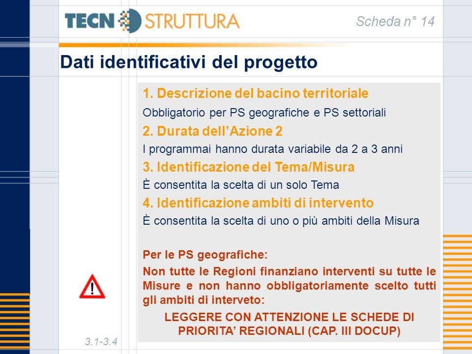 Dati identificativi del progetto Scheda n° 14 3.1-3.4 1. Descrizione del bacino territoriale Obbligatorio per PS geografiche e PS settoriali 2. Durata