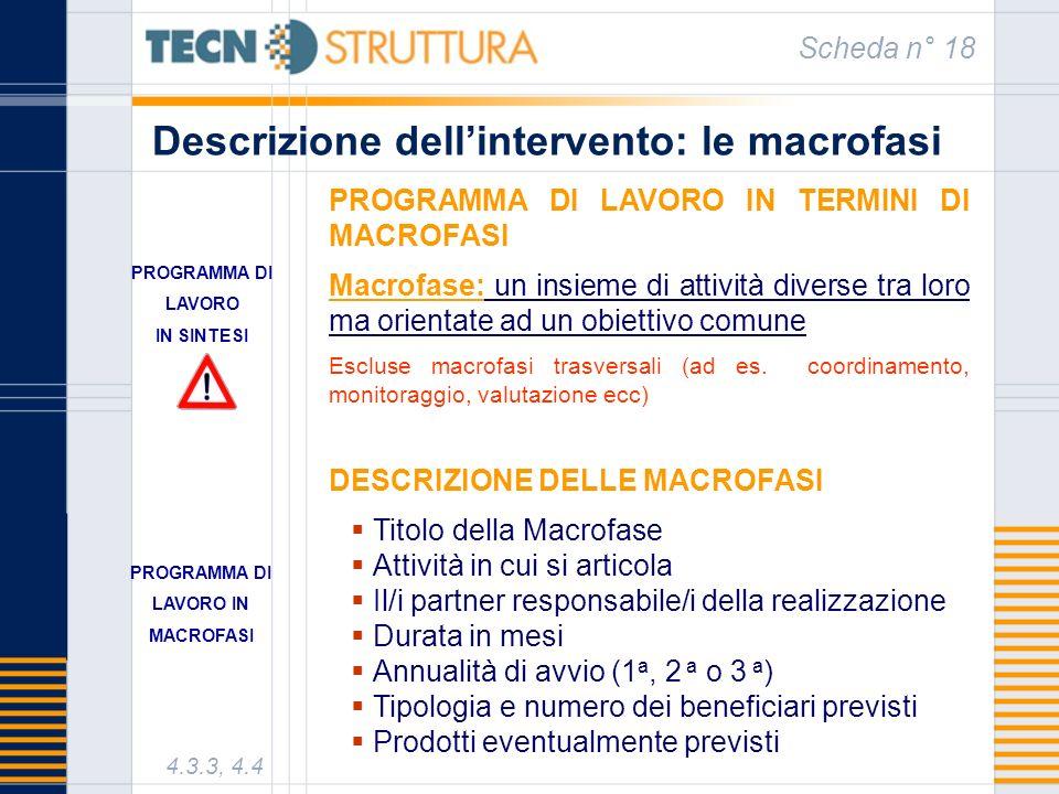 Descrizione dellintervento: le macrofasi Scheda n° 18 4.3.3, 4.4 PROGRAMMA DI LAVORO IN TERMINI DI MACROFASI Macrofase: un insieme di attività diverse