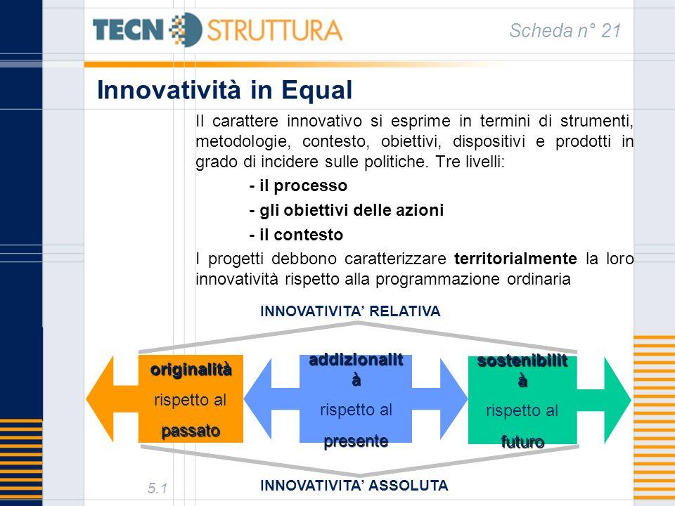 Innovatività in Equal Scheda n° 21 5.1 Il carattere innovativo si esprime in termini di strumenti, metodologie, contesto, obiettivi, dispositivi e prodotti in grado di incidere sulle politiche.