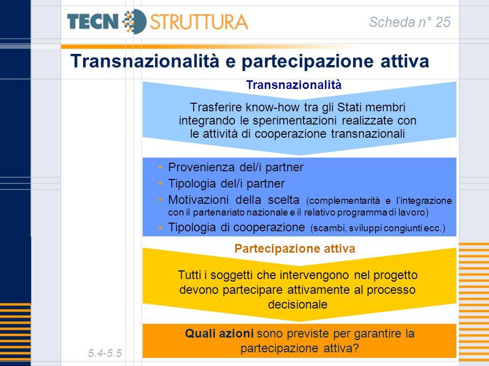 Transnazionalità e partecipazione attiva Scheda n° 25 5.4-5.5 Provenienza del/i partner Tipologia del/i partner Motivazioni della scelta (complementar