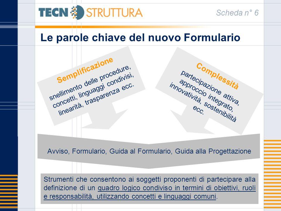 Le parole chiave del nuovo Formulario Scheda n° 6 Semplificazione snellimento delle procedure, concetti, linguaggi condivisi, linearità, trasparenza e