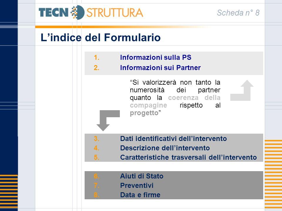 Lindice del Formulario 1.Informazioni sulla PS 2.Informazioni sui Partner Scheda n° 8 3.Dati identificativi dellintervento 4.Descrizione dellintervent