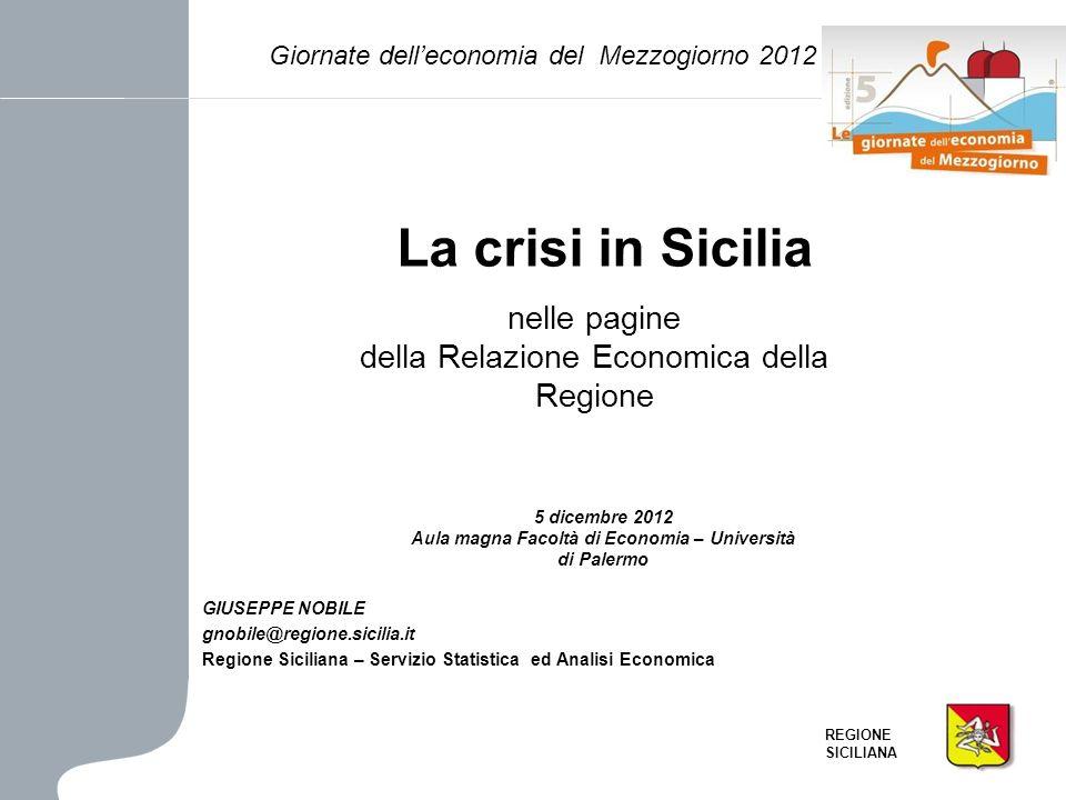 REGIONE SICILIANA La crisi in Sicilia nelle pagine della Relazione Economica della Regione GIUSEPPE NOBILE gnobile@regione.sicilia.it Regione Sicilian