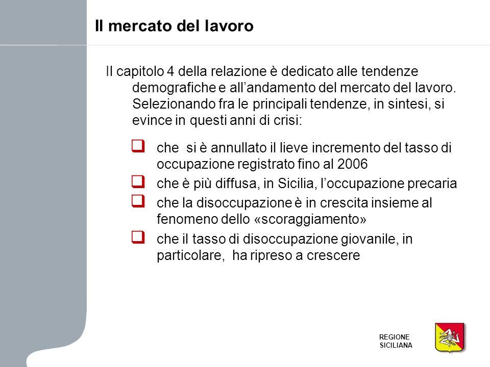 REGIONE SICILIANA Il mercato del lavoro Il capitolo 4 della relazione è dedicato alle tendenze demografiche e allandamento del mercato del lavoro. Sel