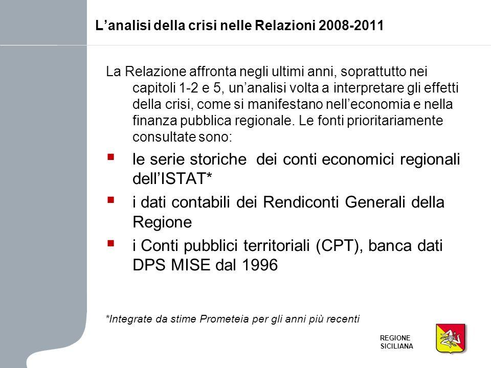 REGIONE SICILIANA La Relazione affronta negli ultimi anni, soprattutto nei capitoli 1-2 e 5, unanalisi volta a interpretare gli effetti della crisi, c