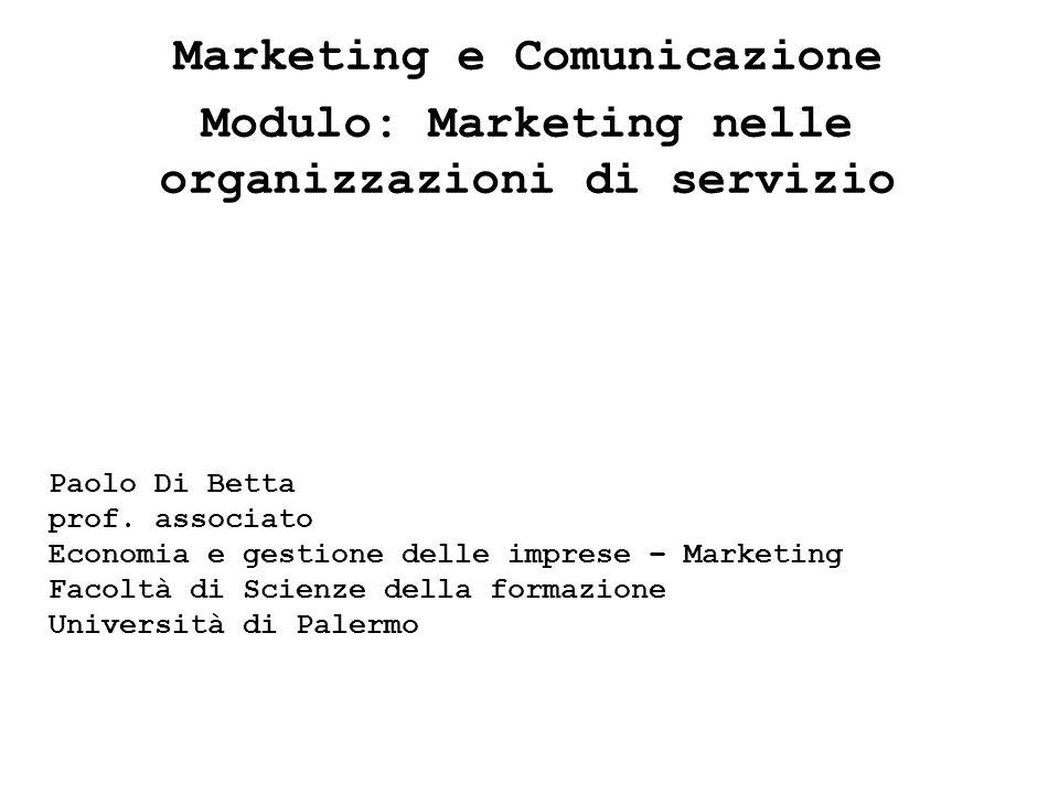 Marketing e Comunicazione Modulo: Marketing nelle organizzazioni di servizio Paolo Di Betta prof. associato Economia e gestione delle imprese – Market
