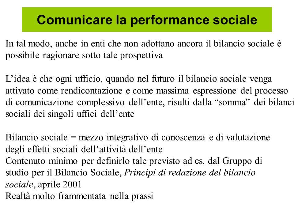 Comunicare la performance sociale In tal modo, anche in enti che non adottano ancora il bilancio sociale è possibile ragionare sotto tale prospettiva