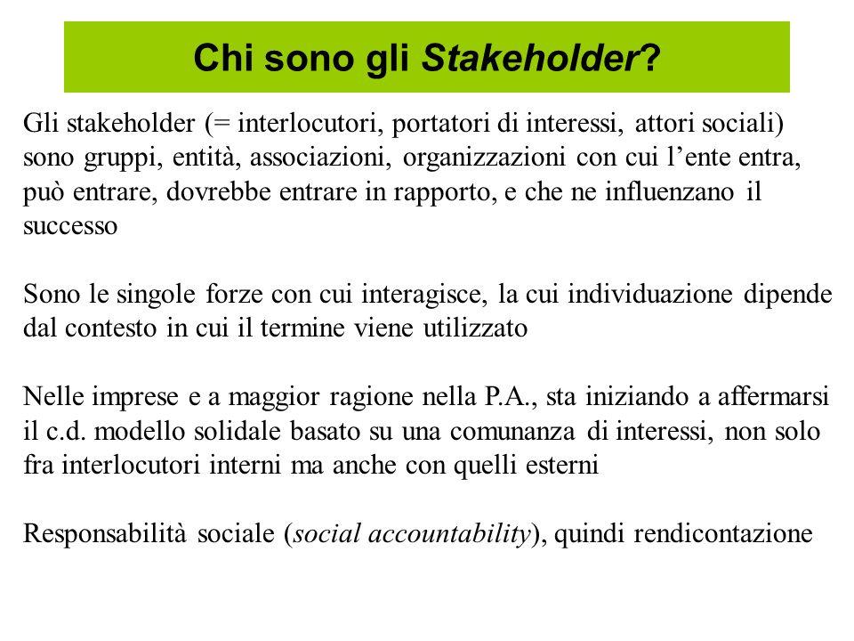 Chi sono gli Stakeholder? Gli stakeholder (= interlocutori, portatori di interessi, attori sociali) sono gruppi, entità, associazioni, organizzazioni