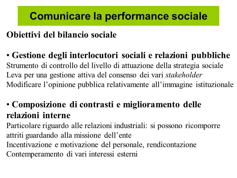 Comunicare la performance sociale Obiettivi del bilancio sociale Gestione degli interlocutori sociali e relazioni pubbliche Strumento di controllo del