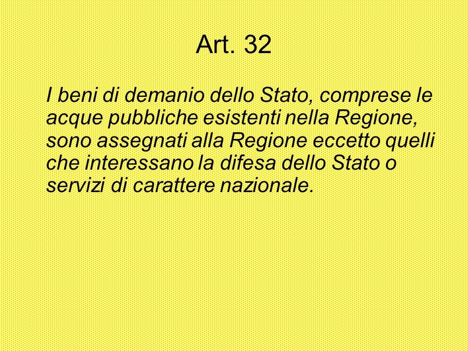 Art. 32 I beni di demanio dello Stato, comprese le acque pubbliche esistenti nella Regione, sono assegnati alla Regione eccetto quelli che interessano