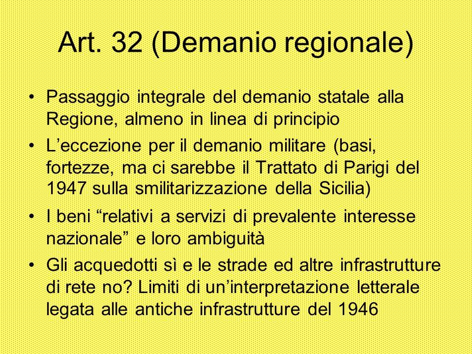 Art. 32 (Demanio regionale) Passaggio integrale del demanio statale alla Regione, almeno in linea di principio Leccezione per il demanio militare (bas