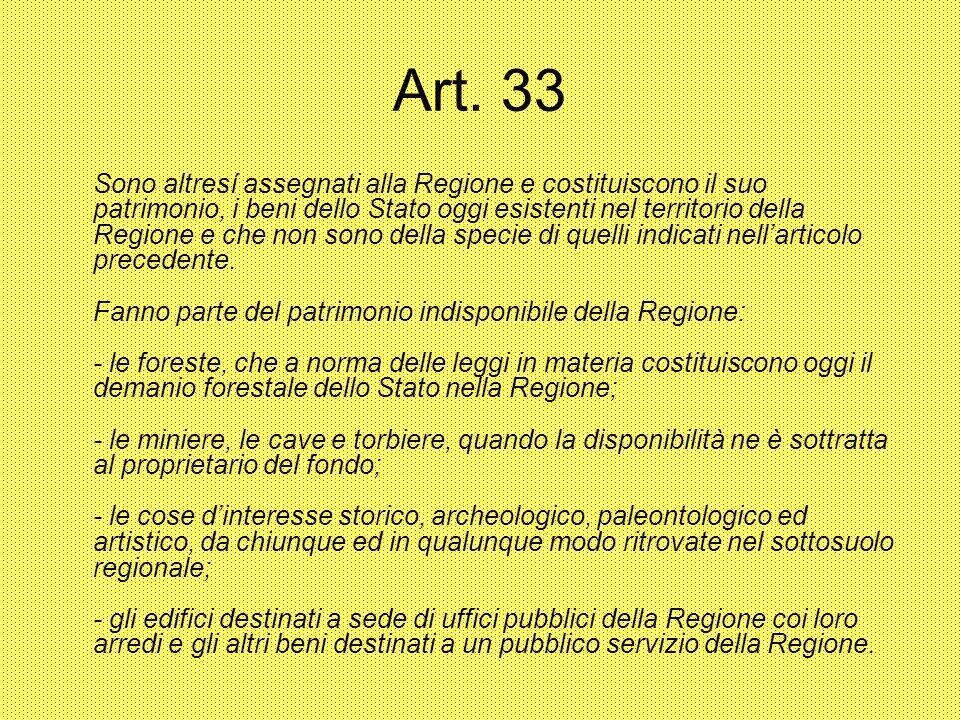 Art. 33 Sono altresí assegnati alla Regione e costituiscono il suo patrimonio, i beni dello Stato oggi esistenti nel territorio della Regione e che no