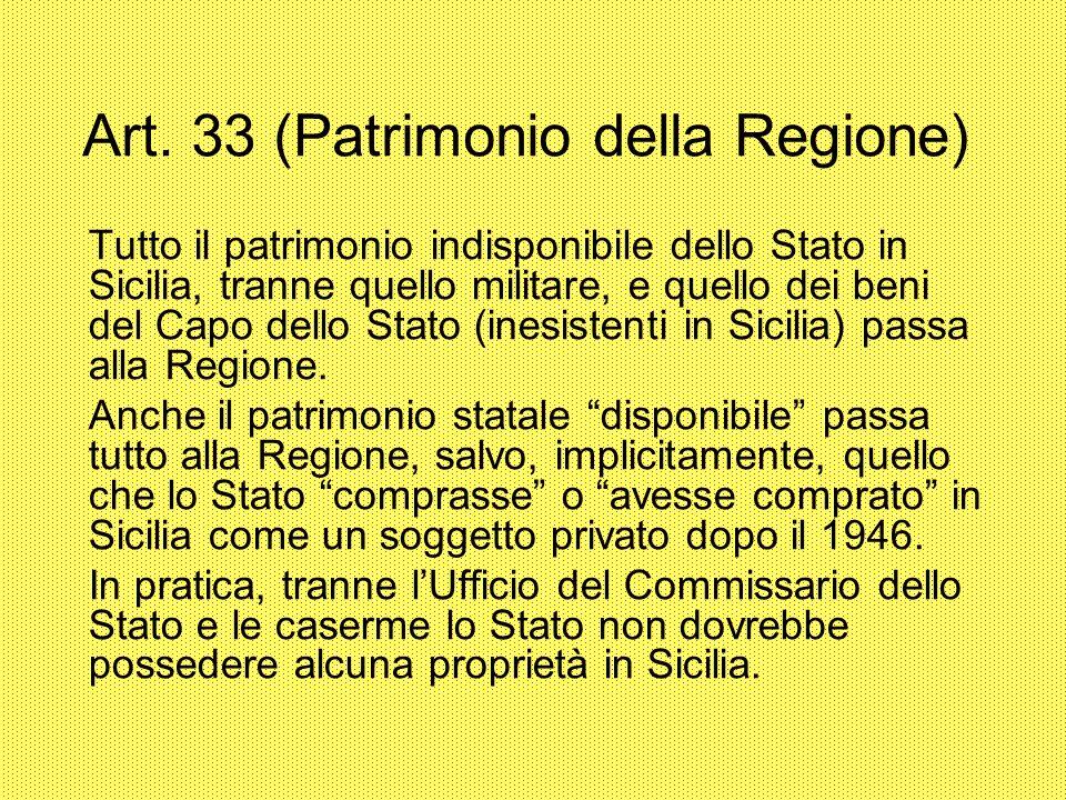 Art. 33 (Patrimonio della Regione) Tutto il patrimonio indisponibile dello Stato in Sicilia, tranne quello militare, e quello dei beni del Capo dello