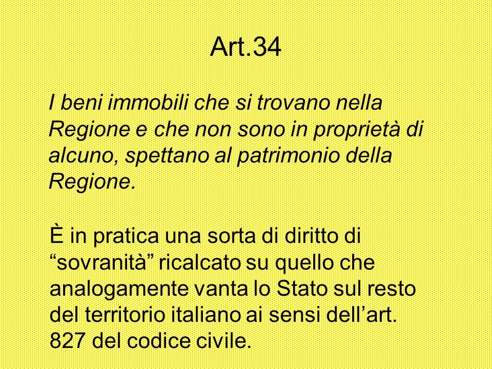 Art.34 I beni immobili che si trovano nella Regione e che non sono in proprietà di alcuno, spettano al patrimonio della Regione.