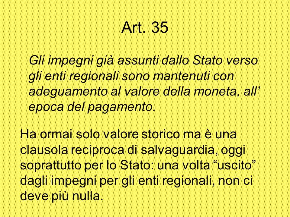 Art. 35 Gli impegni già assunti dallo Stato verso gli enti regionali sono mantenuti con adeguamento al valore della moneta, all epoca del pagamento. H