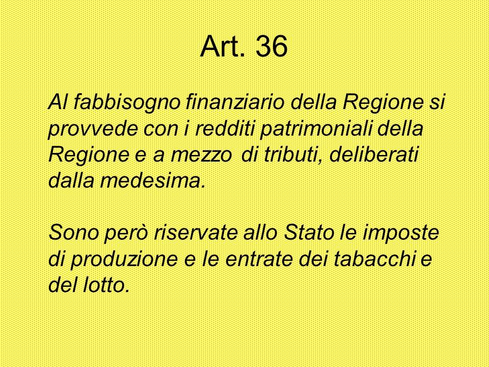 Art. 36 Al fabbisogno finanziario della Regione si provvede con i redditi patrimoniali della Regione e a mezzo di tributi, deliberati dalla medesima.