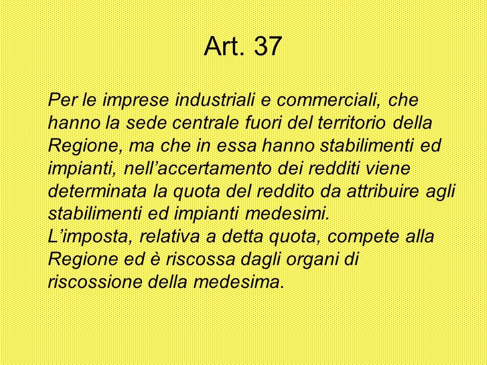 Art. 37 Per le imprese industriali e commerciali, che hanno la sede centrale fuori del territorio della Regione, ma che in essa hanno stabilimenti ed