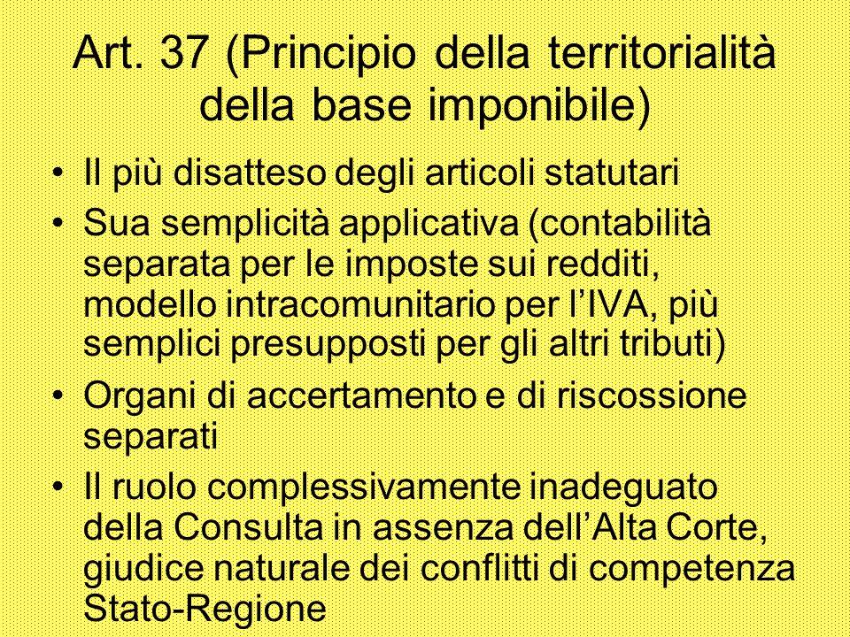 Art. 37 (Principio della territorialità della base imponibile) Il più disatteso degli articoli statutari Sua semplicità applicativa (contabilità separ