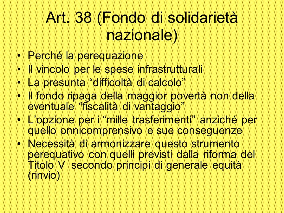 Art. 38 (Fondo di solidarietà nazionale) Perché la perequazione Il vincolo per le spese infrastrutturali La presunta difficoltà di calcolo Il fondo ri