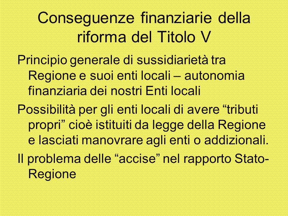Conseguenze finanziarie della riforma del Titolo V Principio generale di sussidiarietà tra Regione e suoi enti locali – autonomia finanziaria dei nost
