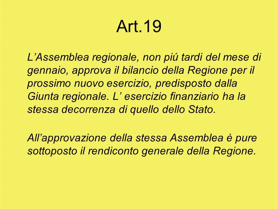 Art.19 LAssemblea regionale, non piú tardi del mese di gennaio, approva il bilancio della Regione per il prossimo nuovo esercizio, predisposto dalla Giunta regionale.