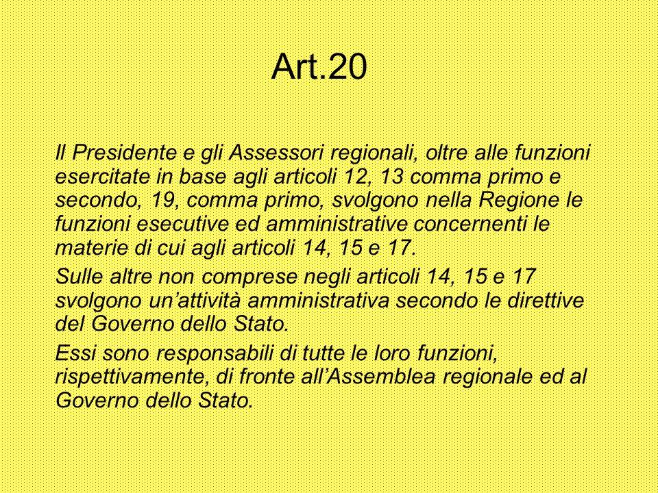 Art.20 Il Presidente e gli Assessori regionali, oltre alle funzioni esercitate in base agli articoli 12, 13 comma primo e secondo, 19, comma primo, sv