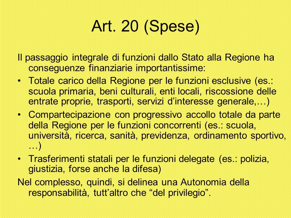 Art. 20 (Spese) Il passaggio integrale di funzioni dallo Stato alla Regione ha conseguenze finanziarie importantissime: Totale carico della Regione pe