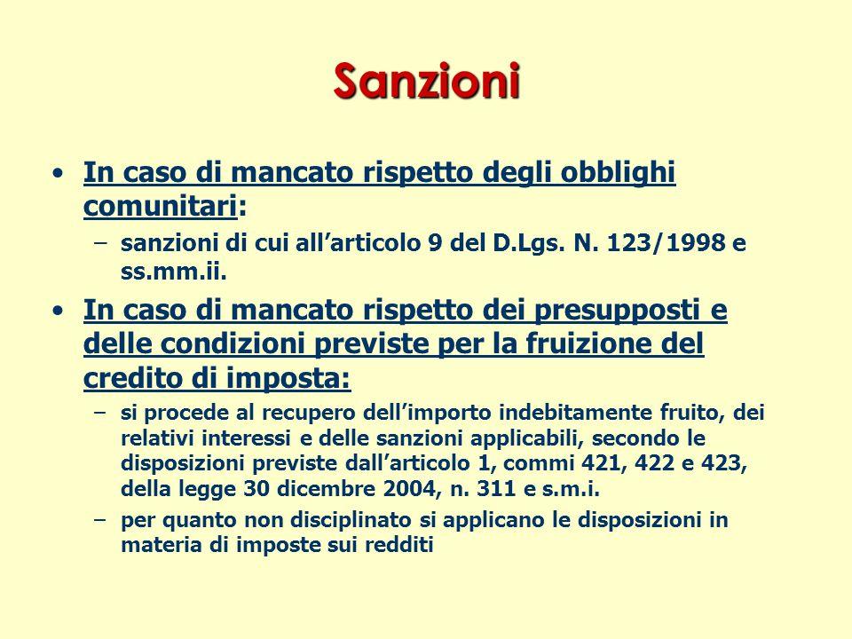 Sanzioni In caso di mancato rispetto degli obblighi comunitari: – –sanzioni di cui allarticolo 9 del D.Lgs.