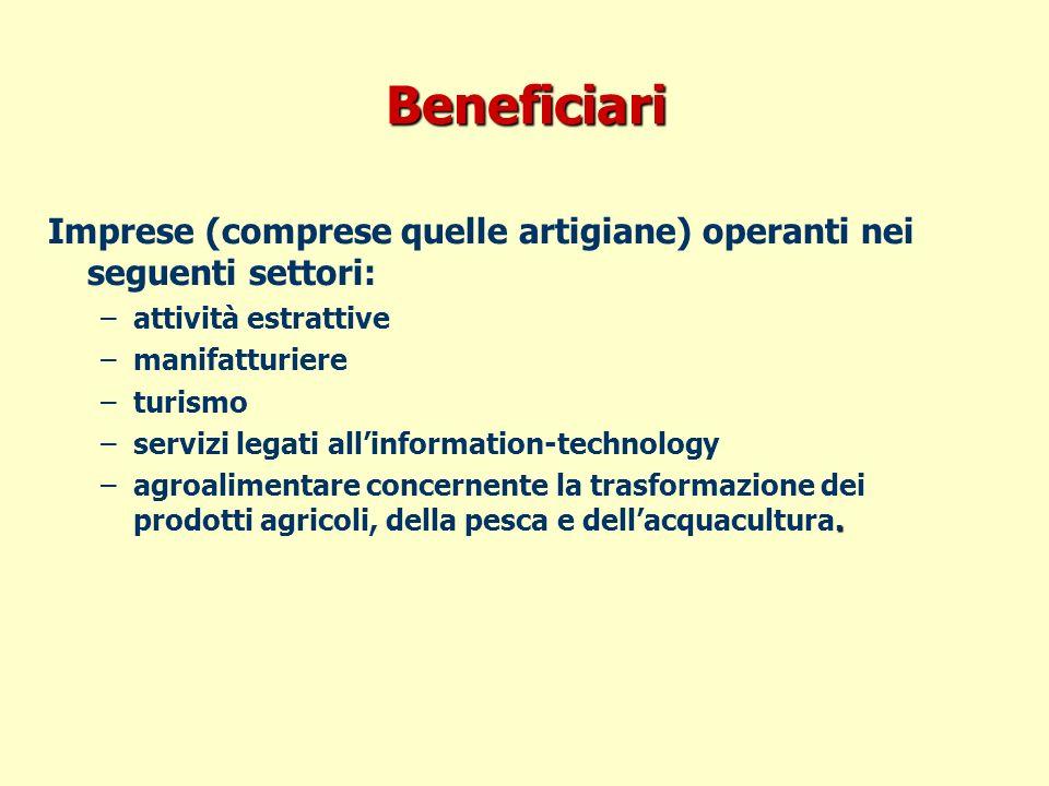 Beneficiari Imprese (comprese quelle artigiane) operanti nei seguenti settori: –attività estrattive –manifatturiere –turismo –servizi legati allinformation-technology.