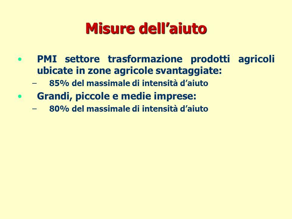 Misure dellaiuto PMI settore trasformazione prodotti agricoli ubicate in zone agricole svantaggiate: – –85% del massimale di intensità daiuto Grandi, piccole e medie imprese: – –80% del massimale di intensità daiuto