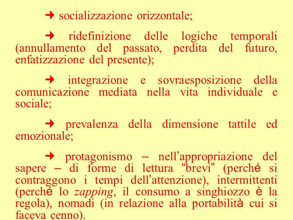 socializzazione orizzontale; ridefinizione delle logiche temporali (annullamento del passato, perdita del futuro, enfatizzazione del presente); integr