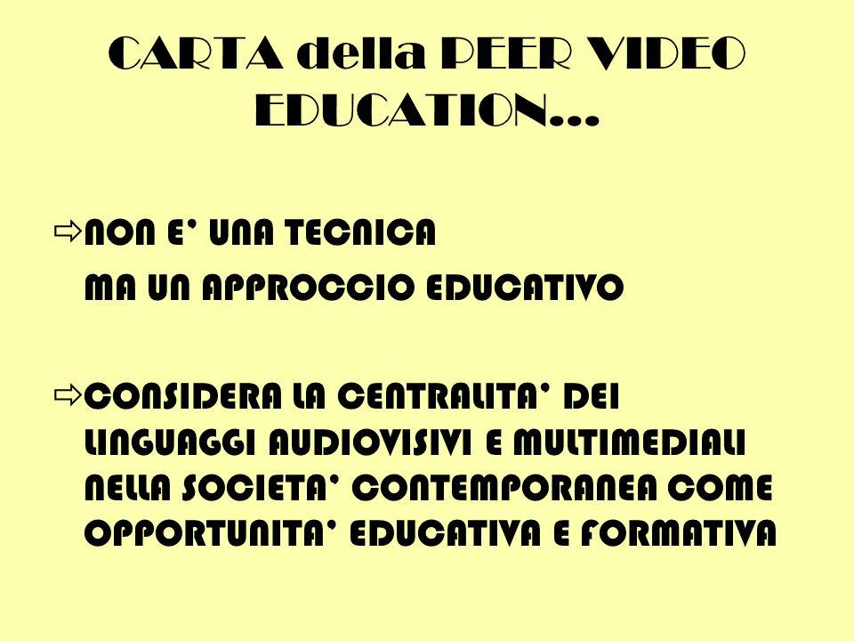 CARTA della PEER VIDEO EDUCATION... NON E UNA TECNICA MA UN APPROCCIO EDUCATIVO CONSIDERA LA CENTRALITA DEI LINGUAGGI AUDIOVISIVI E MULTIMEDIALI NELLA