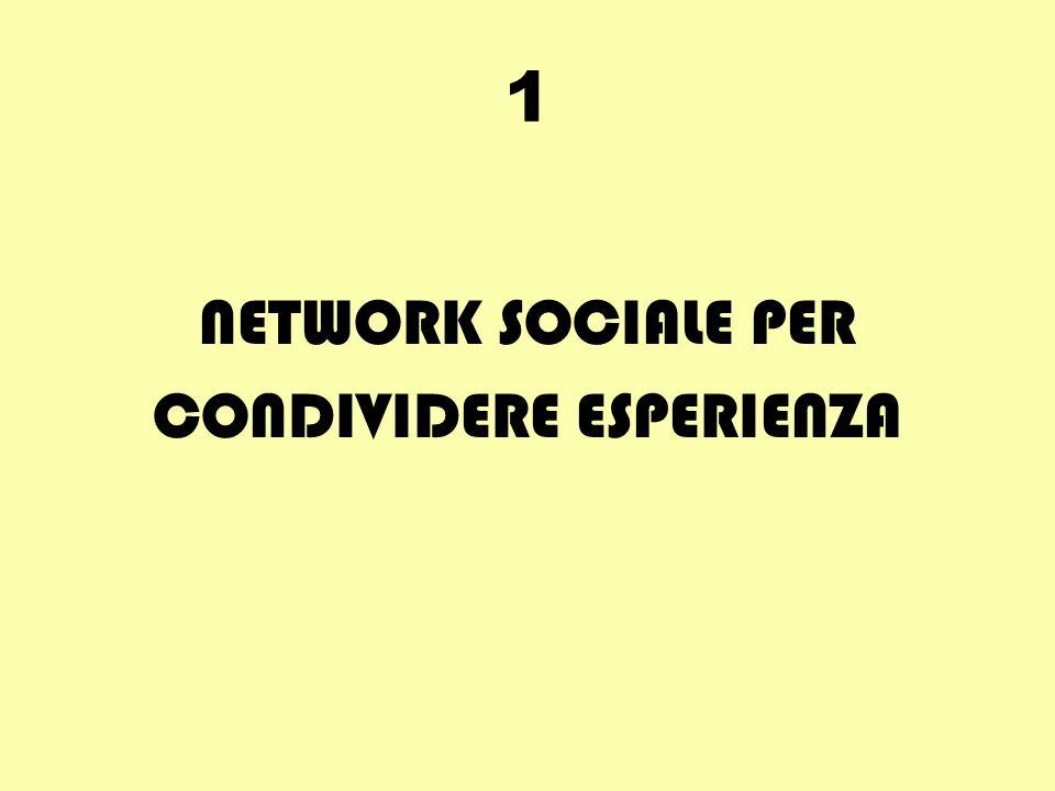 1 NETWORK SOCIALE PER CONDIVIDERE ESPERIENZA