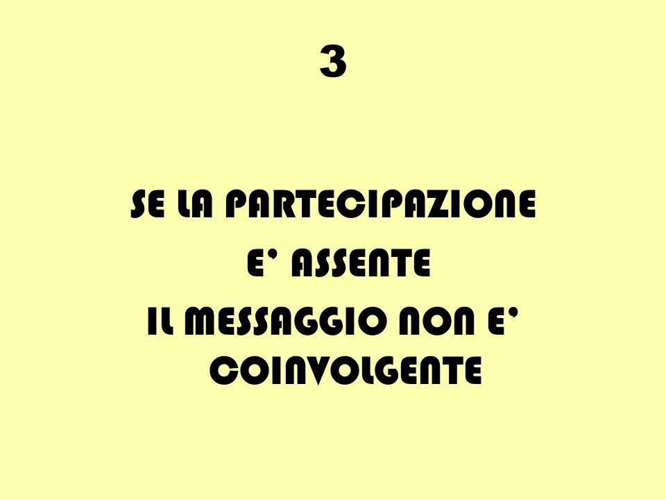 3 SE LA PARTECIPAZIONE E ASSENTE IL MESSAGGIO NON E COINVOLGENTE