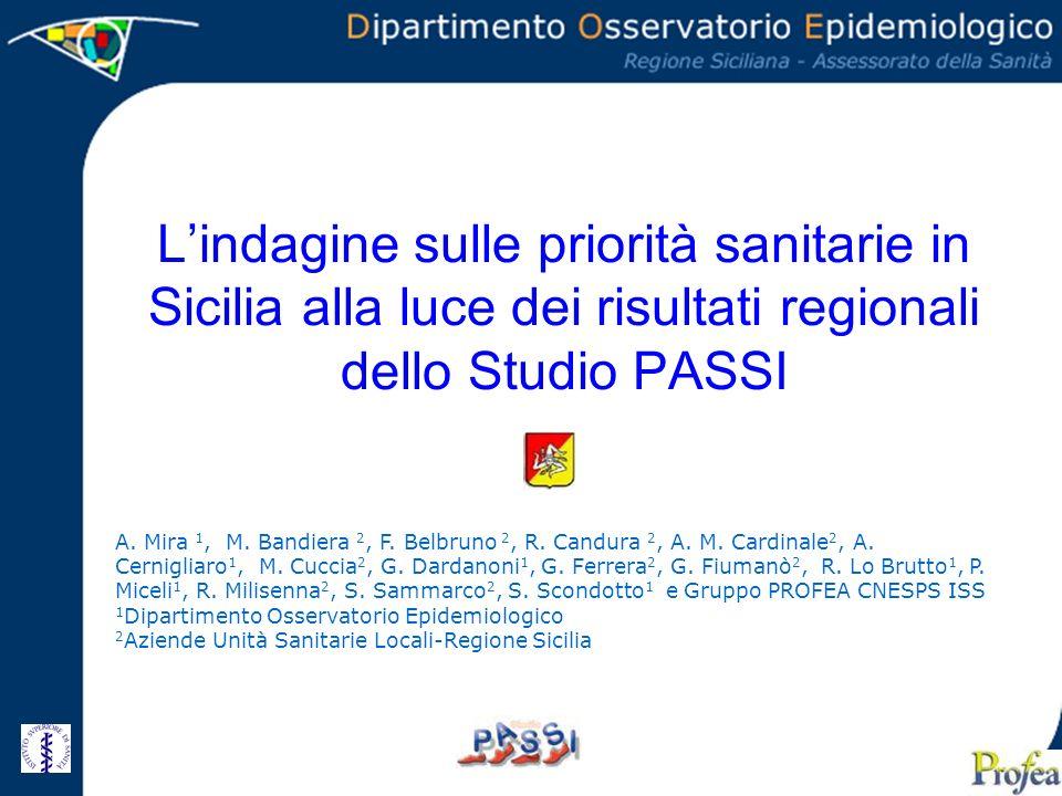 Lindagine sulle priorità sanitarie in Sicilia alla luce dei risultati regionali dello Studio PASSI A. Mira 1, M. Bandiera 2, F. Belbruno 2, R. Candura