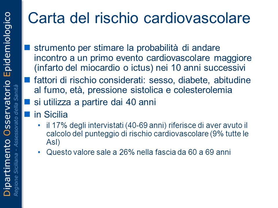 Carta del rischio cardiovascolare strumento per stimare la probabilità di andare incontro a un primo evento cardiovascolare maggiore (infarto del mioc
