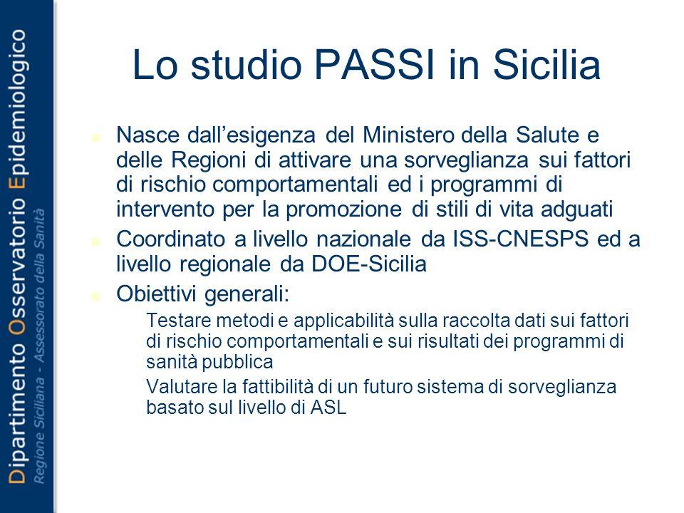 Lo studio PASSI in Sicilia Nasce dallesigenza del Ministero della Salute e delle Regioni di attivare una sorveglianza sui fattori di rischio comportam