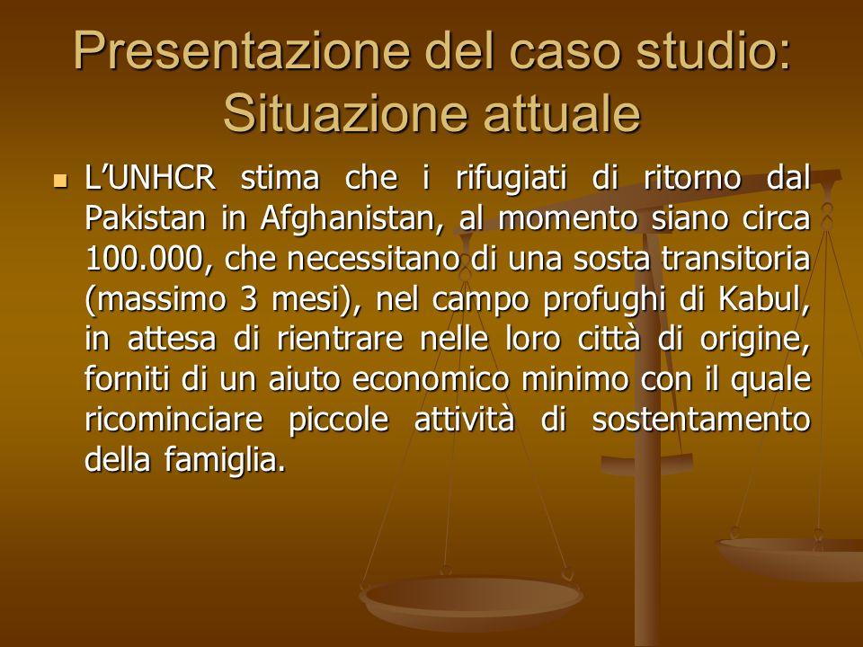 Presentazione del caso studio: Situazione attuale LUNHCR stima che i rifugiati di ritorno dal Pakistan in Afghanistan, al momento siano circa 100.000,