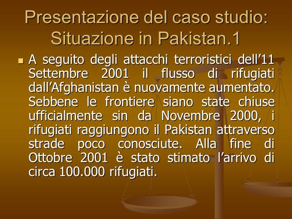 Presentazione del caso studio: Situazione in Pakistan.1 A seguito degli attacchi terroristici dell11 Settembre 2001 il flusso di rifugiati dallAfghani