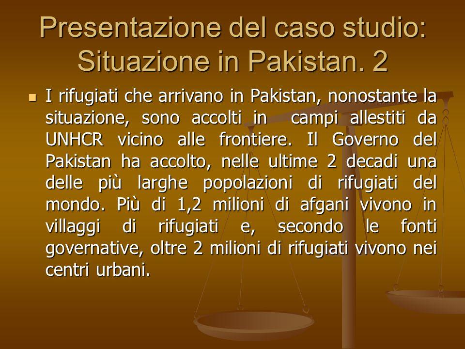 Presentazione del caso studio: Situazione in Pakistan. 2 I rifugiati che arrivano in Pakistan, nonostante la situazione, sono accolti in campi allesti