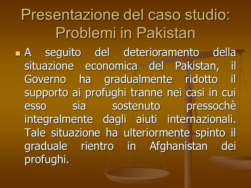 Presentazione del caso studio: Problemi in Pakistan A seguito del deterioramento della situazione economica del Pakistan, il Governo ha gradualmente r