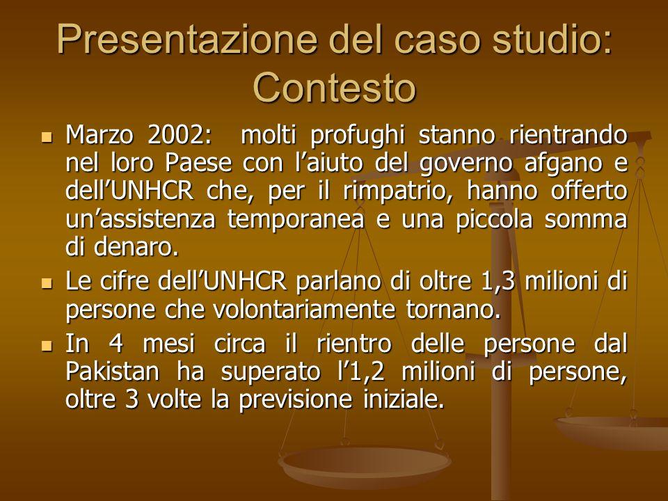 Presentazione del caso studio: Contesto Marzo 2002: molti profughi stanno rientrando nel loro Paese con laiuto del governo afgano e dellUNHCR che, per