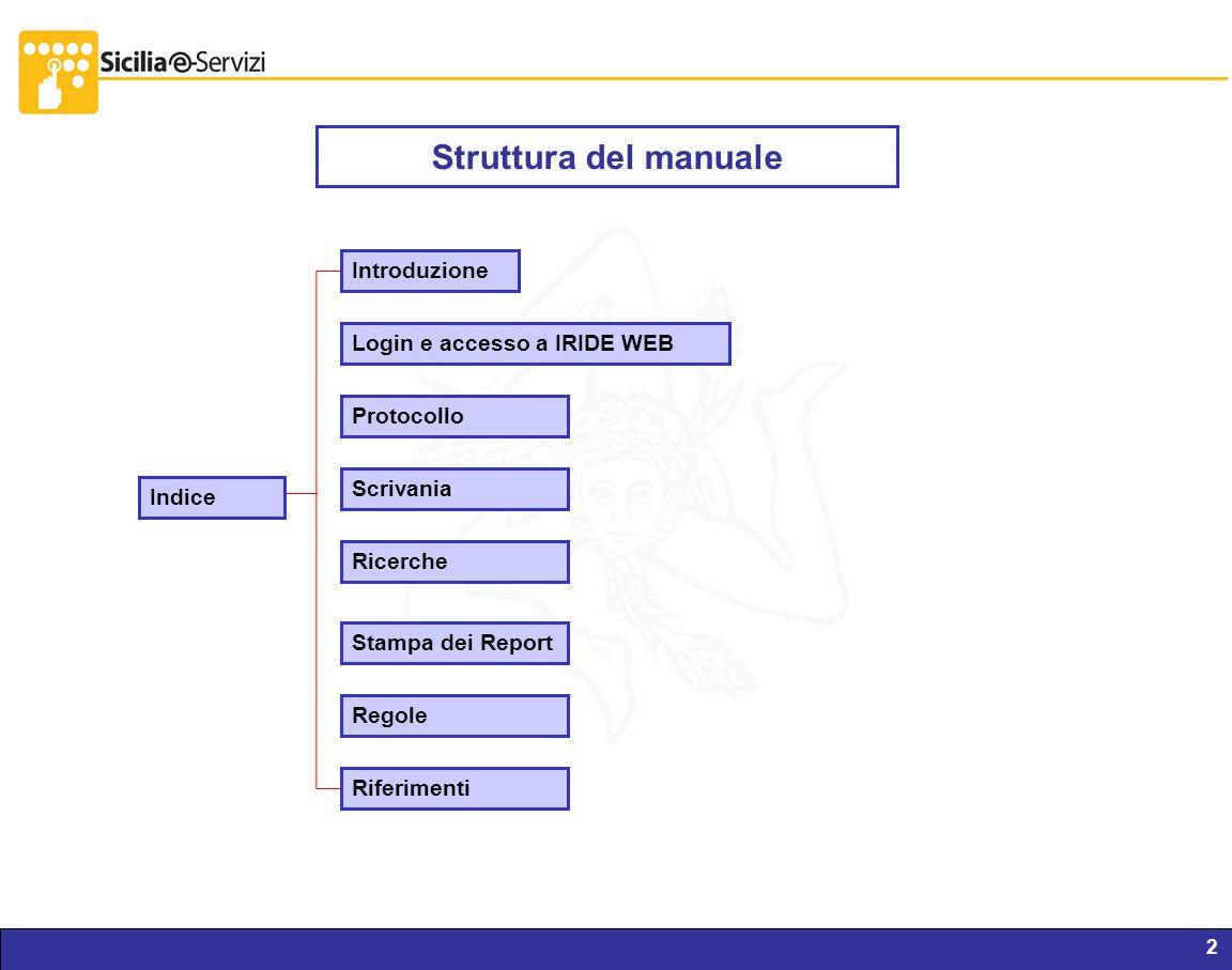 Report servizi IVR e CM2 Struttura del manuale Introduzione Login e accesso a IRIDE WEB Protocollo Scrivania Ricerche Stampa dei Report Riferimenti In