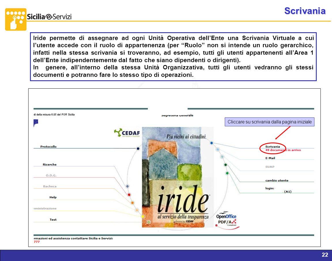 Report servizi IVR e CM22 Scrivania Cliccare su scrivania dalla pagina iniziale Iride permette di assegnare ad ogni Unità Operativa dellEnte una Scriv